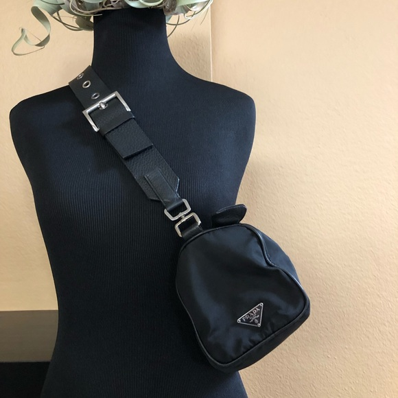 9cbe8cecf163 Prada black nylon cylinder shoulder bag vintage. M 5c5db6817386bcbab0c0349b